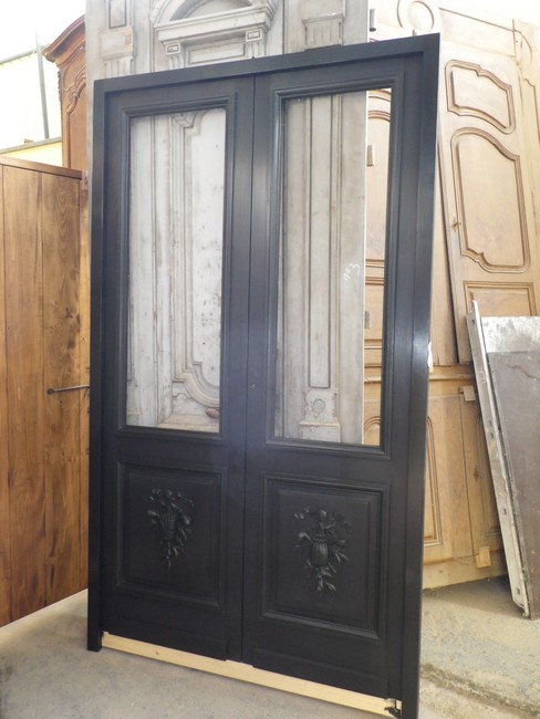 porte d 39 interieur 2 vantaux vitr e ancienne. Black Bedroom Furniture Sets. Home Design Ideas