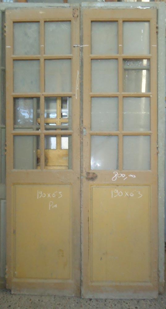 Porte interieure ancienne vitr e 2 vantaux en pin for Porte 2 vantaux interieur