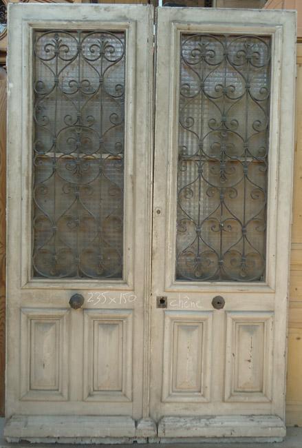 porte d 39 entr e ancienne deux vantaux en ch ne avec grilles ForPorte En Fer Forge Ancienne