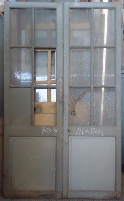 Porte d 39 interieur 2 vantaux vitr e ancienne for Porte de service bois vitree pas cher