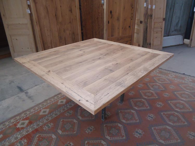 Fabrication table en vieux bois for Pietement de table en bois