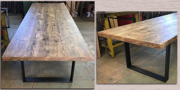 fabrication table vieux bois