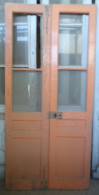Porte interieure ancienne vitr e 2 vantaux en pin - Porte interieure vitree ancienne ...