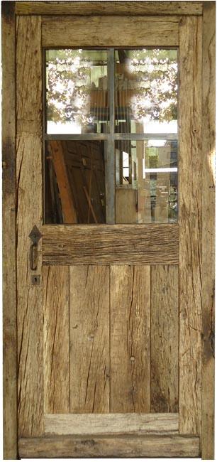 Porte exterieure vitr e chassis m tal en vieux chene for Porte exterieure bois vitree